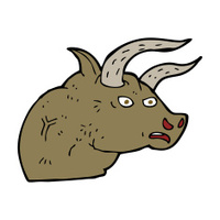 cartoon angry bull head