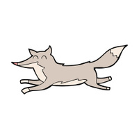 cartoon running wolf