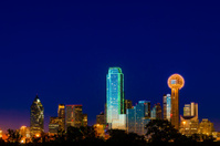 Dallas TX Skyline Cityscape blue twilight night with copyspace