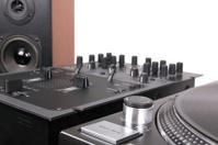 Dj equipment on black table