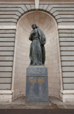 St. Peter statue of Almudena Cathedral. Madrid, Spain