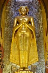 Buddha statue inside a Ananda temple, Bagan, Myanmar.