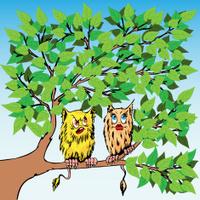 Two strange enamored beings sit on a tree.