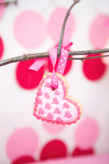 Fancy Valentines Cookie Ornament Hanging On Branch