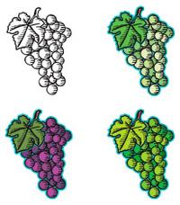 Woodcut grapes