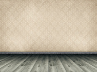 Wooden floor and vintage patterned wallpaper