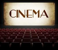 Vintage movie screen in old retro cinema