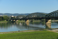 railway bridge over danube river at linz austria
