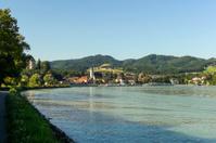 cycle path near danube river at grein austria