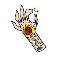 cartoon tattoo hand