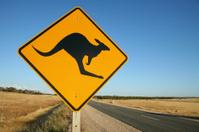 Kangaroo warning sign on Australian road