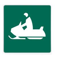 road sign - snowmobiler green