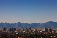 Phoenix Arizona Skyline with Mountains