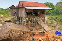 Stilt houses in a small village near Kratie, Cambodia