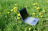 Lone laptop in green field
