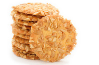 crispy cracker with peanut on white