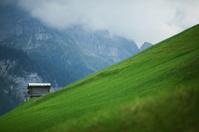Mountain Hut on a hill overlooking Gimmelwald, Switzerland