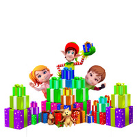 Kids with elves and gifts