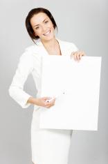 Woman with wipe board