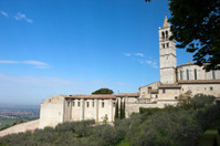 Panoramic view of the church in Assisi, Umbria - Italy