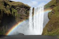 Bright Rainbow Over Skogafoss Waterfall, Iceland