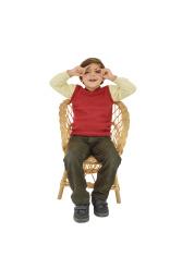Preschool Age Boy sitting hands around eyes