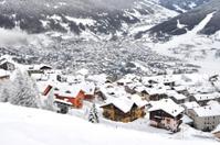 Alpine village with snow