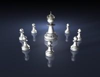 chess team with king figurine, dark blue illustration