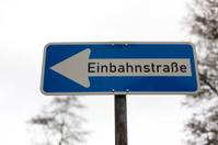 german one-way street sign