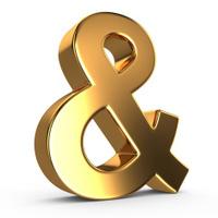3d golden ampersand