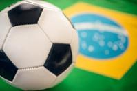 brazil flag background with soccer ball