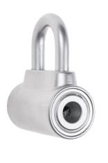 chrome metal padlock isolated