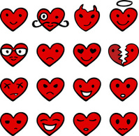 hearts cartoon emotions