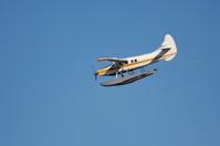 Seaplane descending, with copyspace