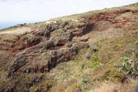 Volcanic landscape, typical houses, wild vegetation