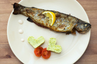 Grilled trout with two hearts