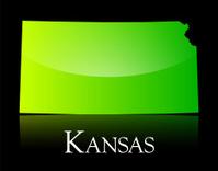 Kansas green shiny map