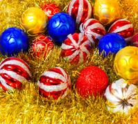 Vivid yellow garland with colorful balls