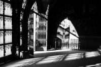 Old gate and shadow - black & white