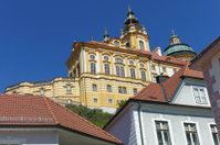 melk abbey on top of the city buildings at austria