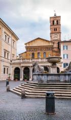 Santa Maria in Trastevere and fountain, Rome Italy