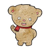 cartoon teddy bear waving