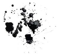 black grunge ink splash on white paper
