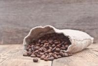 Coffee beans in burlap