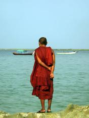 Burma (Myanmar) Monk Standing on Rock