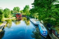 London England Regent's Canal Boats on Camden Lock Water