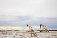 Two Golden Pump Jacks Drilling On Winter Agricultural Land