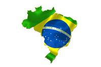 Brasilian flag in Brazil map.