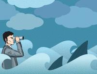 Businessman Shark Watcher Concept