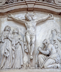 Brussels - Crucifixion stone relief